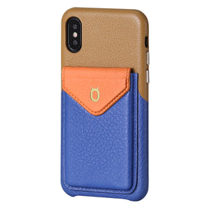 Cover & Go FX _ iPhone X Italian Leather Case - Brown&Blue