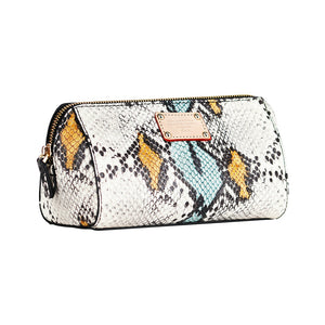 ITORO Multi-colored Italian Snake Print Goat Leather Cosmetic Bag - Yellow&Black