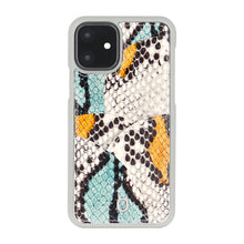 Load image into Gallery viewer, iPhone 11 Phone Case with Multi-colored Italian Python Series Leather - Yellow&Green