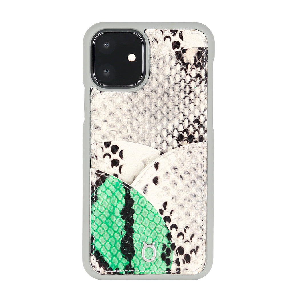 iPhone 11 Phone Case with Multi-colored Italian Python Series Leather - White&Green