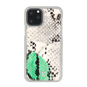 iPhone 11 Pro Max Phone Case with Multi-colored Italian Python Series Leather - White&Green