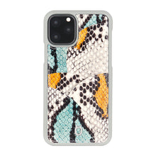 Load image into Gallery viewer, iPhone 11 Pro Max Phone Case with Multi-colored Italian Python Series Leather - Yellow&Green