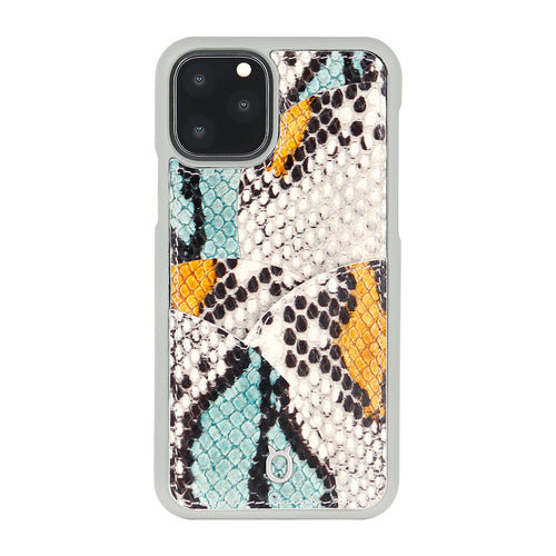 iPhone 11 Pro Max Phone Case with Multi-colored Italian Python Series Leather