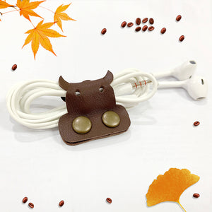 Cow Genuine Leather Cable Holder Straps - Cow Combo2