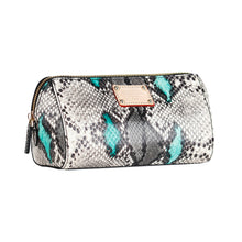 Load image into Gallery viewer, ITORO Multi-colored Italian Snake Print Goat Leather Cosmetic Bag - Green&Black