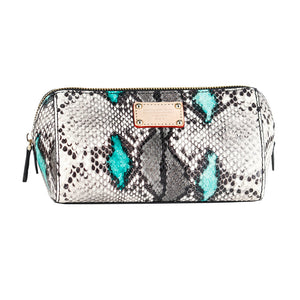 ITORO Multi-colored Italian Snake Print Goat Leather Cosmetic Bag - Green&Black