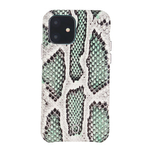 iPhone 11 Italian Python Series Leather Case - Green