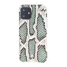 Load image into Gallery viewer, iPhone 11 Italian Python Series Leather Case - Green