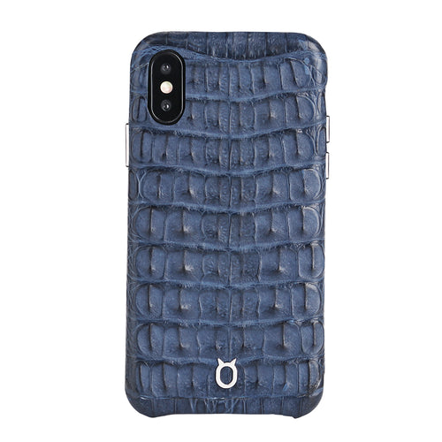 Limited Edition Deep Blue Crocodile iPhone XS Case - Croc Back