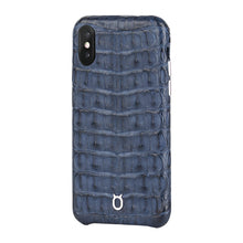 Load image into Gallery viewer, Limited Edition Deep Blue Crocodile iPhone XS Case