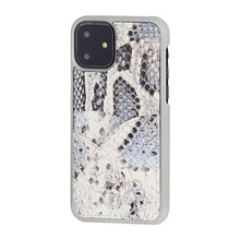 Load image into Gallery viewer, iPhone 11 Phone Case with Multi-colored Italian Python Series Leather - White&Black