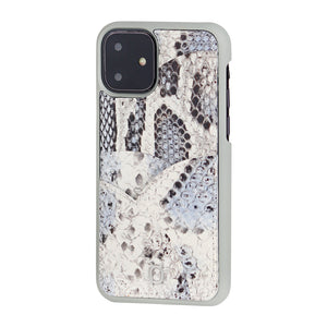 iPhone 11 Phone Case with Multi-colored Italian Python Series Leather - White&Black