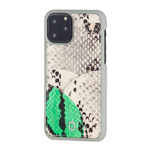 iPhone 11 Pro Phone Case with Multi-colored Italian Python Series Leather - White&Green
