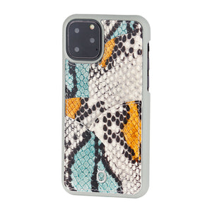 iPhone 11 Pro Max Phone Case with Multi-colored Italian Python Series Leather - Yellow&Green