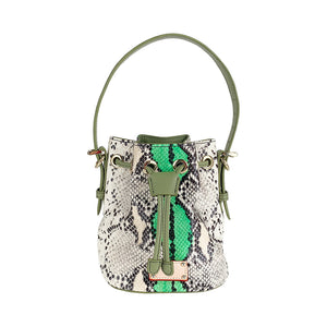 ITORO Italian Python Series Leather Mini Shoulder Bucket Bag - Green