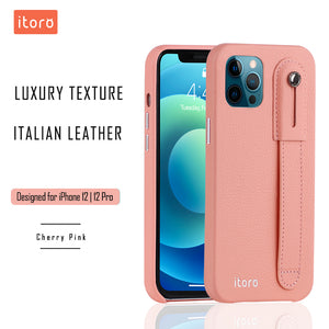 iPhone 12 | 12 Pro Italian Leather Case _ Hand Strap Kickstand - Cherry Pink