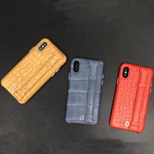 Load image into Gallery viewer, Crocodile embossed kickstand Leather Phone case iPhone XS