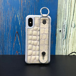 Crocodile embossed kickstand Series iPhone XS Case with finger ring
