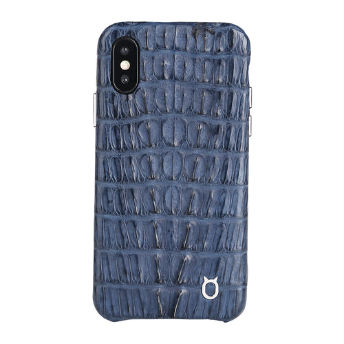 Limited Edition Deep Blue Crocodile iPhone XS Case - Croc Tail