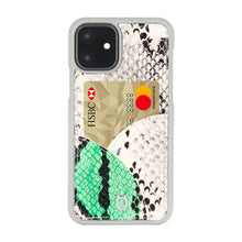 Load image into Gallery viewer, iPhone 11 Phone Case with Multi-colored Italian Python Series Leather - White&Green