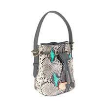 Load image into Gallery viewer, ITORO Italian Python Series Leather Mini Shoulder Bucket Bag - Grey