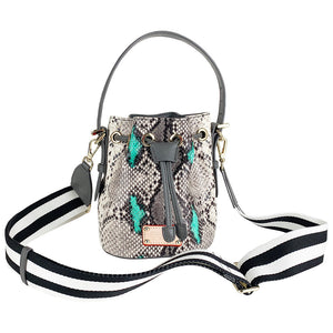 ITORO Italian Python Series Leather Mini Shoulder Bucket Bag - Grey