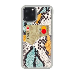iPhone 11 Pro Phone Case with Multi-colored Italian Python Series Leather - Yellow&Green