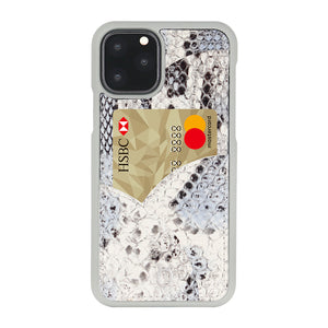 iPhone 11 Pro Phone Case with Multi-colored Italian Python Series Leather - White&Black