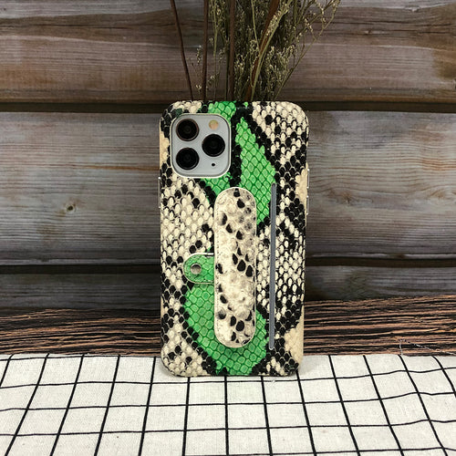 Snake embossed Elasticity Kickstand Leather Phone case iPhone 11 Pro Max