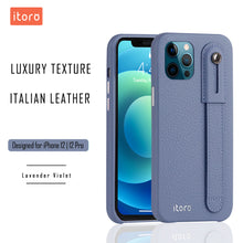 Load image into Gallery viewer, iPhone 12 | 12 Pro Italian Leather Case _ Hand Strap Kickstand - Lavender Violet