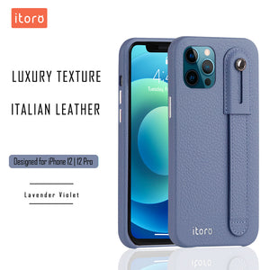 iPhone 12 | 12 Pro Italian Leather Case _ Hand Strap Kickstand - Lavender Violet