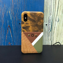 "Load image into Gallery viewer, Limited Edition Multicolor ""6"" Croco &  Lizard iPhone XS Case - Orange/Brown/Green"