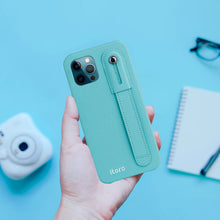 Load image into Gallery viewer, iPhone 12 | 12 Pro Italian Leather Case _ Hand Strap Kickstand - Mint Blue