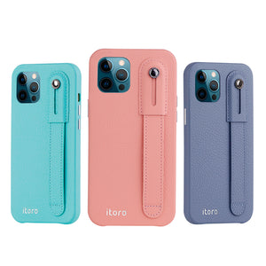 iPhone 12 | 12 Pro Italian Leather Case _ Hand Strap Kickstand - Mint Blue