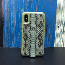 "Load image into Gallery viewer, Multicolor ""2"" Snake embossed leather iPhone XS Case - Green"
