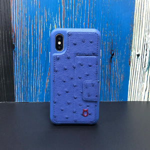 Ostrich Kickstand Leather Phone Case iPhone XS - Blue