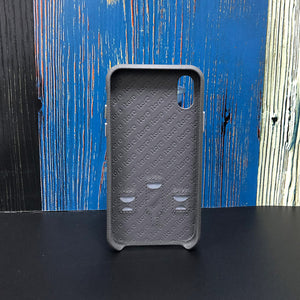 Ostrich Kickstand Leather Phone Case iPhone XS - Deep Gray