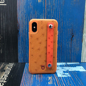 Ostrich detachable Kickstand Leather Case iPhone XS - Brown