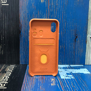 Ostrich detachable Kickstand Leather Case iPhone XS - Orange