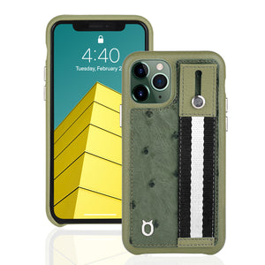 Ostrich Kickstand Leather Case iPhone 11 Pro with stand function - Green