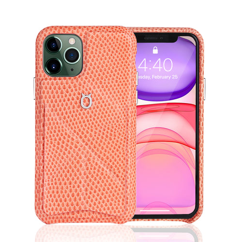 iPhone 11 Pro Italian Lizard Leather Case with Multiple standing function - Pink