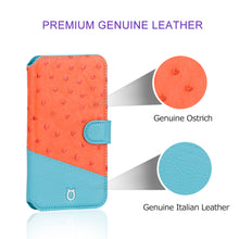 Load image into Gallery viewer, Ostrich Leather Folio Stand iPhone 12 Pro Max Case