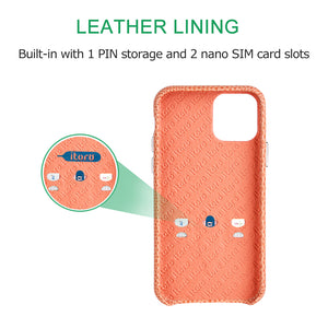 iPhone 11 Pro Max Italian Lizard Leather Case with Multiple standing function - Pink