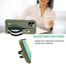 Load image into Gallery viewer, Ostrich Kickstand Leather Case iPhone 11 Pro with stand function - Green