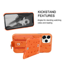 Load image into Gallery viewer, Ostrich detachable kickstand Wallets Leather Case iPhone 11 Pro - Orange