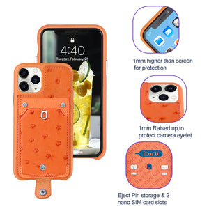 Ostrich detachable kickstand Wallets Leather Case iPhone 11 Pro Max - Orange