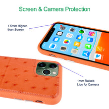 Load image into Gallery viewer, Ostrich Leather Phone Case with stand function_ iPhone 11 Pro