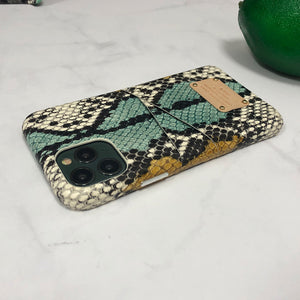 Multi-colored Snake embossed Leather Phone Case iPhone 11