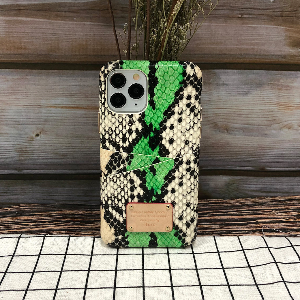 Multi-colored Snake embossed Leather Phone Case iPhone 11 Pro Max