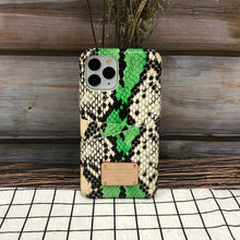 Load image into Gallery viewer, Multi-colored Snake embossed Leather Phone Case iPhone 11